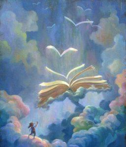 Libri che volano nel cielo e bambino